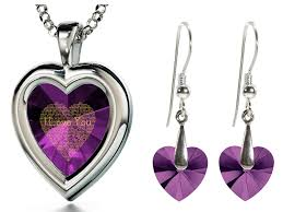 purple heart necklace images 925 silver heart jewelry set i love you necklace in 120 languages jpg