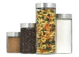 amazon com 4 piece callista glass canister set with stainless