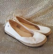 ugg womens indah shoes white ugg australia size 7 5 m indah white canvas jute wrapped flats