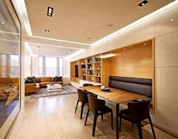 living and dining room together small spaces grey wood dining