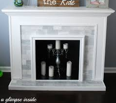 a glimpse inside faux fireplace makeover