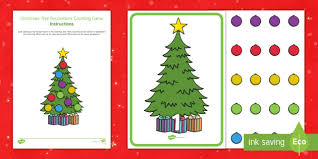 christmas tree decorations counting game eyfs early years