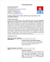 Sample Resume For Hotel Industry by Restaurant Manager Resume Template 6 Free Word Pdf Document