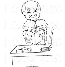 vector coloring page of a black and white reading and standing