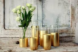 wedding table decorations candle holders gold wedding decor 6 custom gold dipped cylinder vases or candle