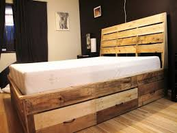 Wood King Platform Bed With Drawers Pallet Homemade Reclaimed Wood King Headboard Platform Bed Frame