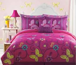 Girls Bed In A Bag by Save Pink Yellow Teal Butterfly Teen Girls Full Size Comforter