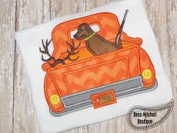 hunting truck ideas boys fall hunting truck with hunting dog and by leonabembroidery