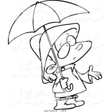 vector of a cartoon sad in rain gear waiting for showers