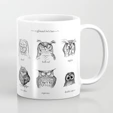 owl mug caffeinated owls coffee mug by davemott society6