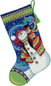 happy snowman stocking needlepoint kit 16
