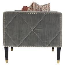 catori classic grey velvet strie mod sofa kathy kuo home
