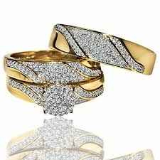 wedding ring trio sets his and rings trio wedding set yellow gold 1 2cttw diamonds