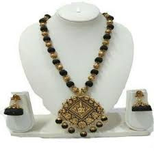 black necklace sets images Antique lakshmi pendant black silkthread necklace set at rs 650 jpeg