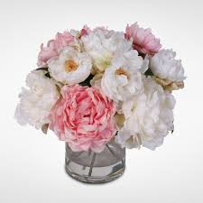 peonies bouquet silk peonies bouquet in glass vase with water 46w