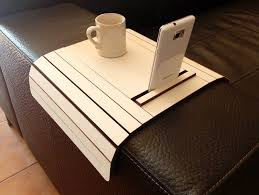 couch arm coffee table laser cut wood arm rest table with cell phone stand sofa table sofa