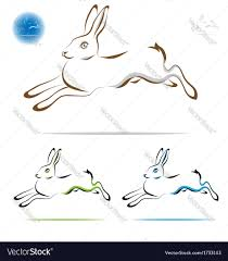 running rabbit outline royalty free vector image