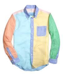 brooks brothers regular fit solid fun linen sport shirt for men lyst