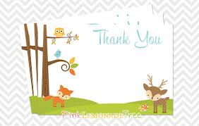 woodland thank you card 4x6 flat printable card baby shower