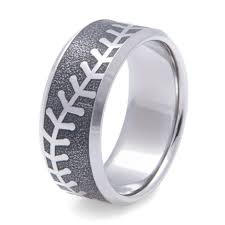 baseball wedding ring men s laser engraved baseball ring titanium buzz