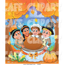 thanksgiving pilgrams vector cartoon clip art of a group of happy pilgrims and native