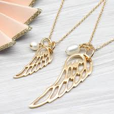 angel wings gold necklace images Rose or yellow gold angel wing and pearl necklace by hurleyburley jpg