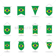Banners Flags Pennants Collection Of Brazil Flag Pennants Vector Image 1572828