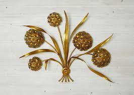 Vintage Sconces Vintage Gold Leaf Flower Wall Lamp For Sale At Pamono Decorative