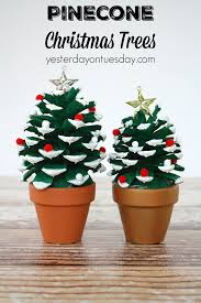 pinecone christmas trees a fun pinecone craft for kids or adults