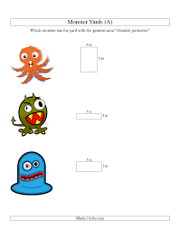 halloween math area and perimeter of monsters u0027 yards a