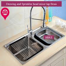 popular kitchen stainless steel sink buy cheap kitchen stainless 304 stainless steel brushed thicken double kitchen sink with faucet more sizes accessories complete 72