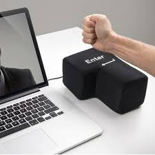 novelty usb big enter key anti stress relief supersized enter key office desk foam nap pillow