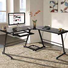 L Shaped Black Glass Desk Office Desk Small Office Desk L Computer Desk Black Glass Desk