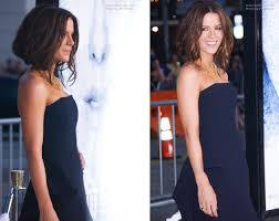 kate beckinsale u0027s hair secured under to imitate a plunged bob and