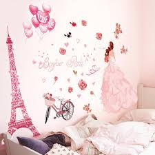 amazon com wall sticker hatop wall stickers romance decoration iuhan bonjour paris wall sticker lovely sweet girl with rose mural decor bedroom home sticker wall
