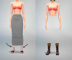 skirt mesh not showing up with boots dark shadow on ankle sims