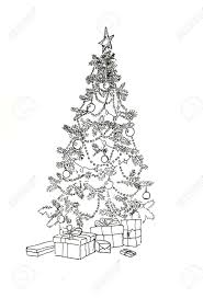 christmas tree with decoration and gifts line art drawing stock