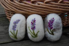 lavender merino wool felted soap handmade flowers home decor