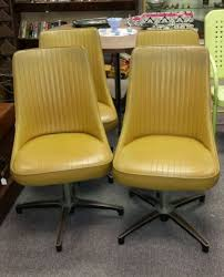 Chromcraft Furniture Kitchen Chair With Wheels 4 Vintage Retro Yellow Chromcraft Kitchen Dining Chairs Funky