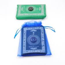 large organza bags personalized organza bag blue color for muslim portable prayer rug