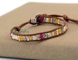 weave wrap bracelet images Boho bracelet fashion mixed stones metal beads weave wrap jpg