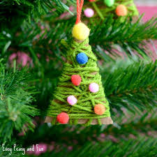 yarn wrapped tree ornaments easy peasy and