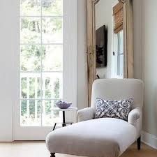 Gray Chaise Lounge Pale Gray Chaise Lounge With Blue Pillow Cottage Living Room