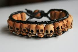 skull bracelet leather images Skull bracelet with leather by clroavieg jpg