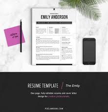 unique resume template resume template the emily resume templates creative market