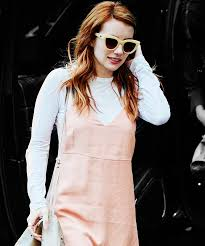 celebrities slip dress t shirt trend emma roberts