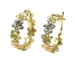 heavy diamond earrings heavy 14k yellow white tricolor gold hawaiian plumeria flower