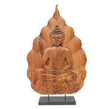 asian imports decorative large buddha on lotus wood carving