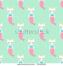 cute mermaid cat seamless pattern stock vector 716921122