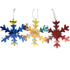 recycled metal snowflake ornaments in a set of 3 from guatemala